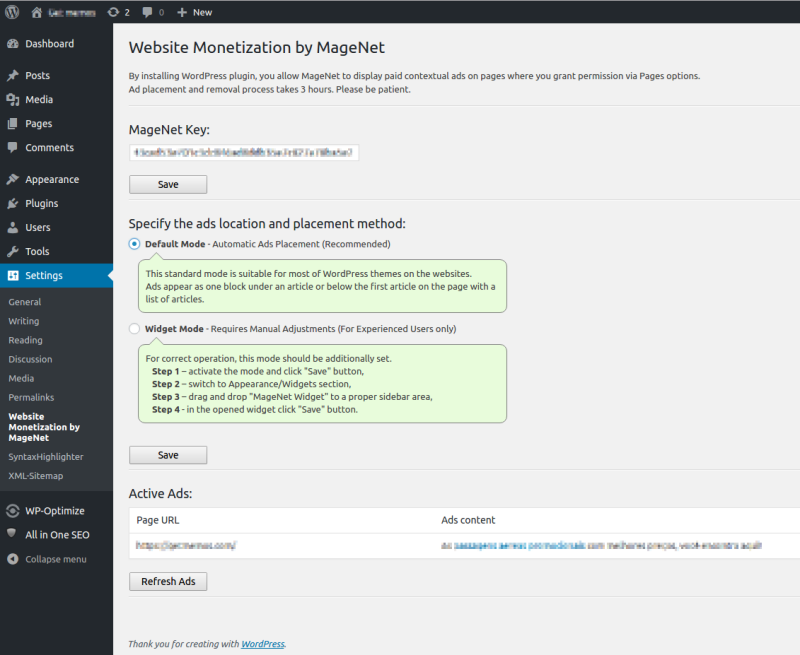 MageNet Monetization Plugin