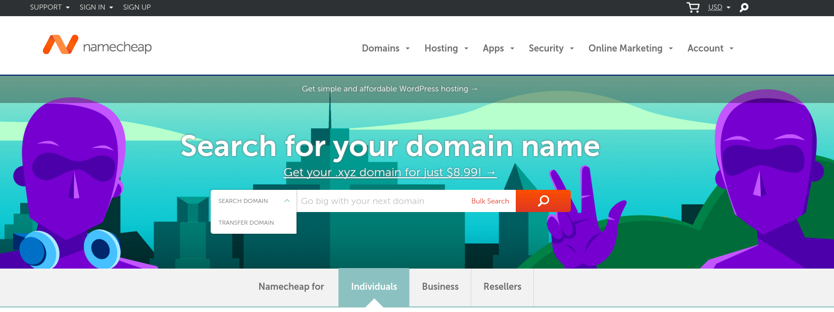 Namecheap search for domain